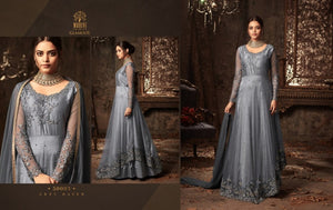 Partywear 50003 IndoWestern Grey Net Satin Silk Anarkali Gown by Fashion Nation