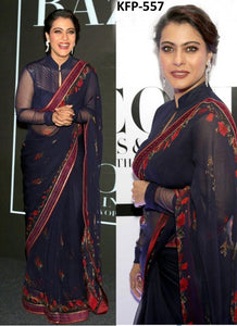 Kajol KH18688 Bollywood Inspired Navy Blue Georgette Silk Saree
