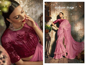 Attractive TV40506 Designer Coral Pink Maroon Silk Lycra Frill Ruffles Saree - Fashion Nation