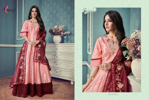 Elegant Indo Western KY7025 Pink Silk Floor Length Anarkali Gown by Fashion Nation