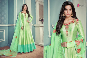 Summer Special Indo Western KY7027 Liril Green Silk Floor Length Anarkali Gown - Fashion Nation