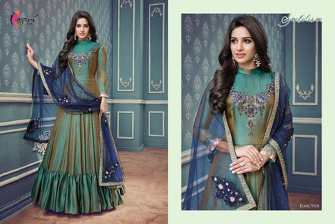 Evening Wear Indo Western KY7028 Shaded Multicoloured Silk Floor Length Anarkali Gown by Fashion Nation
