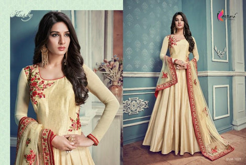 Attractive Indo Western KY7029 Cream Silk Floor Length Anarkali Gown - Fashion Nation