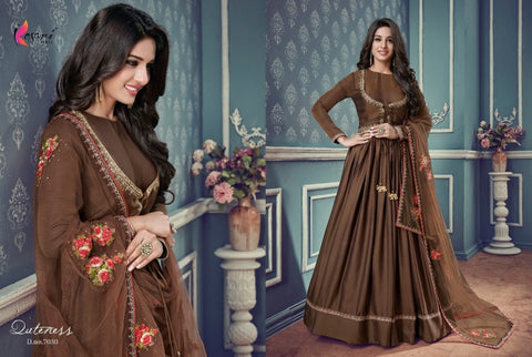 In Vogue Indo Western KY7030 Brown Silk Floor Length Anarkali Gown by Fashion Nation