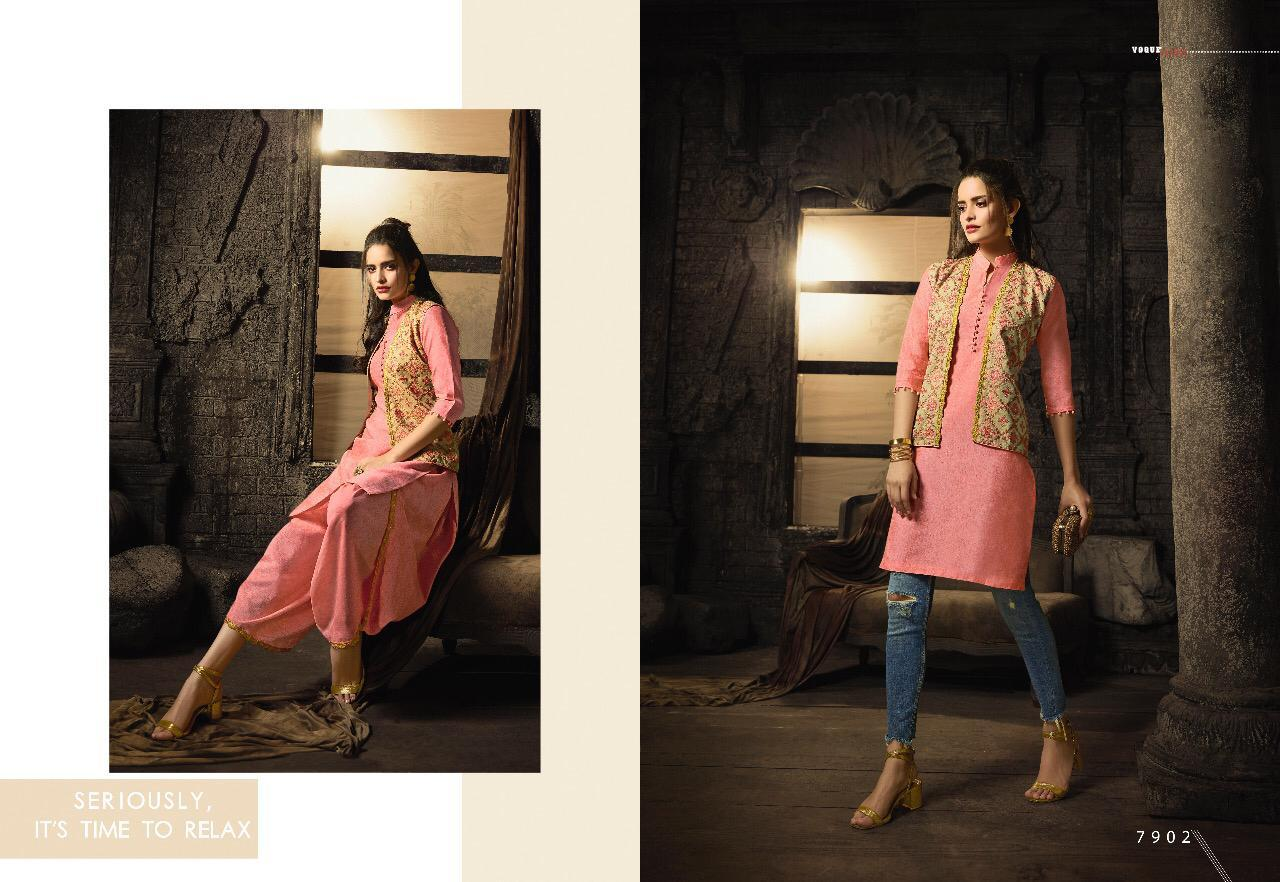 Indo Western MAI7902 Readymade Pink Multicoloured Linen Cotton Kurta Set with Jacket - Fashion Nation