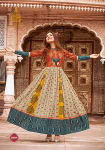 Super Hit KS3004 Indo Western Readymade Multicoloured Lawn Cotton Long Dress by Fashion Nation
