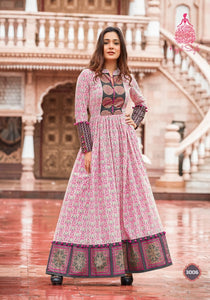 Stylish KS3006 Indo Western Readymade Multicoloured Lawn Cotton Long Dress - Fashion Nation
