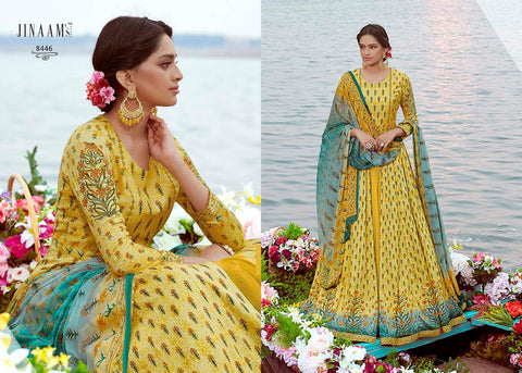 Indo Western JIN8446 Colourful Blue Yellow Cotton Satin Malmal Anarkali Gown by Fashion Nation