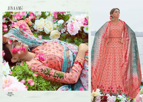 Indo Western JIN8448 Delicate Multicoloured Pink Cotton Satin Malmal Anarkali Gown by Fashion Nation