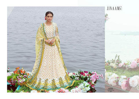 Indo Western JIN8449 Gorgeous Multicoloured Cotton Satin Malmal Anarkali Gown by Fashion Nation