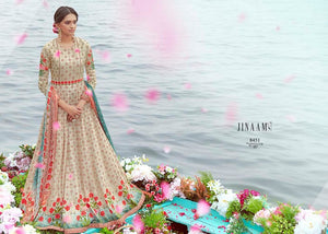 Indo Western JIN8451 Latest Multicoloured Cotton Satin Malmal Anarkali Gown by Fashion Nation