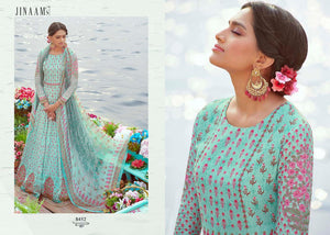 Charming Indo Western JIN8452 Aqua Multicoloured Cotton Satin Malmal Anarkali Gown by Fashion Nation