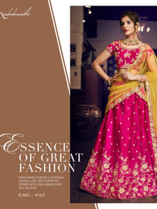 Nakkashi NAK4157 Bridal Rani Handloom Silk Liril Net Lehenga Choli - Fashion Nation.in