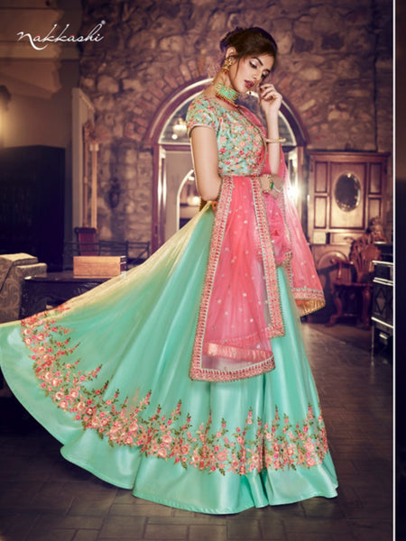 Nakkashi NAK4158 Bridal Sea Green Satin Silk Net Peach Lehenga Choli - Fashion Nation