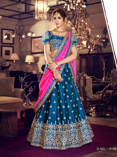 Attractive Nakkashi NAK4159 Bridal Blue Satin Silk Pink Georgette Lehenga Choli - Fashion Nation