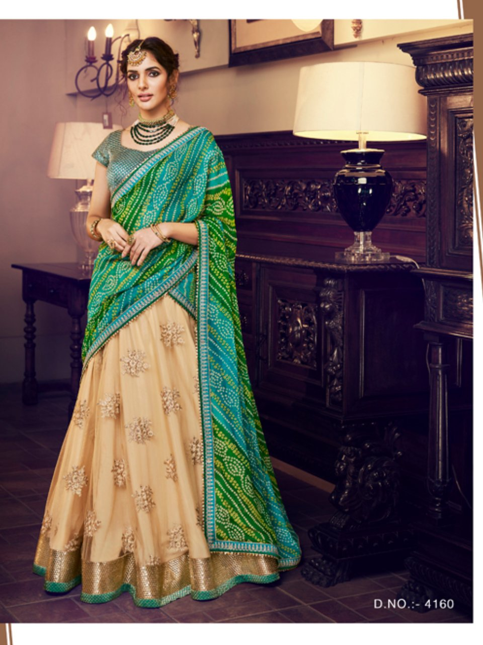 Nakkashi NAK4160 Bridal Beige Net Green Georgette Silk Bandhani Lehenga Choli - Fashion Nation