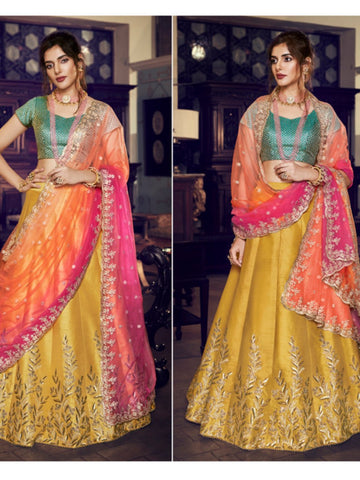 Colourful Nakkashi NAK4162 Bridal Mustard Green Handloom Silk Lehenga Choli - Fashion Nation
