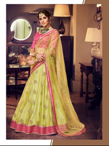 Splendid Nakkashi NAK4164 Bridal Liril Green Net Lehenga Choli - Fashion Nation