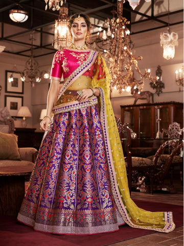 Curated Nakkashi NAK4165 Bridal Purple Jacquard Silk Lehenga Choli - Fashion Nation