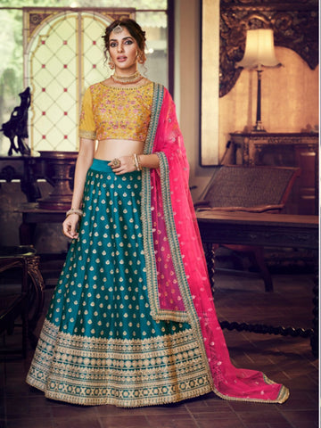 Handpicked Nakkashi NAK4166 Bridal Peacock Blue Yellow Silk Lehenga Choli - Fashion Nation