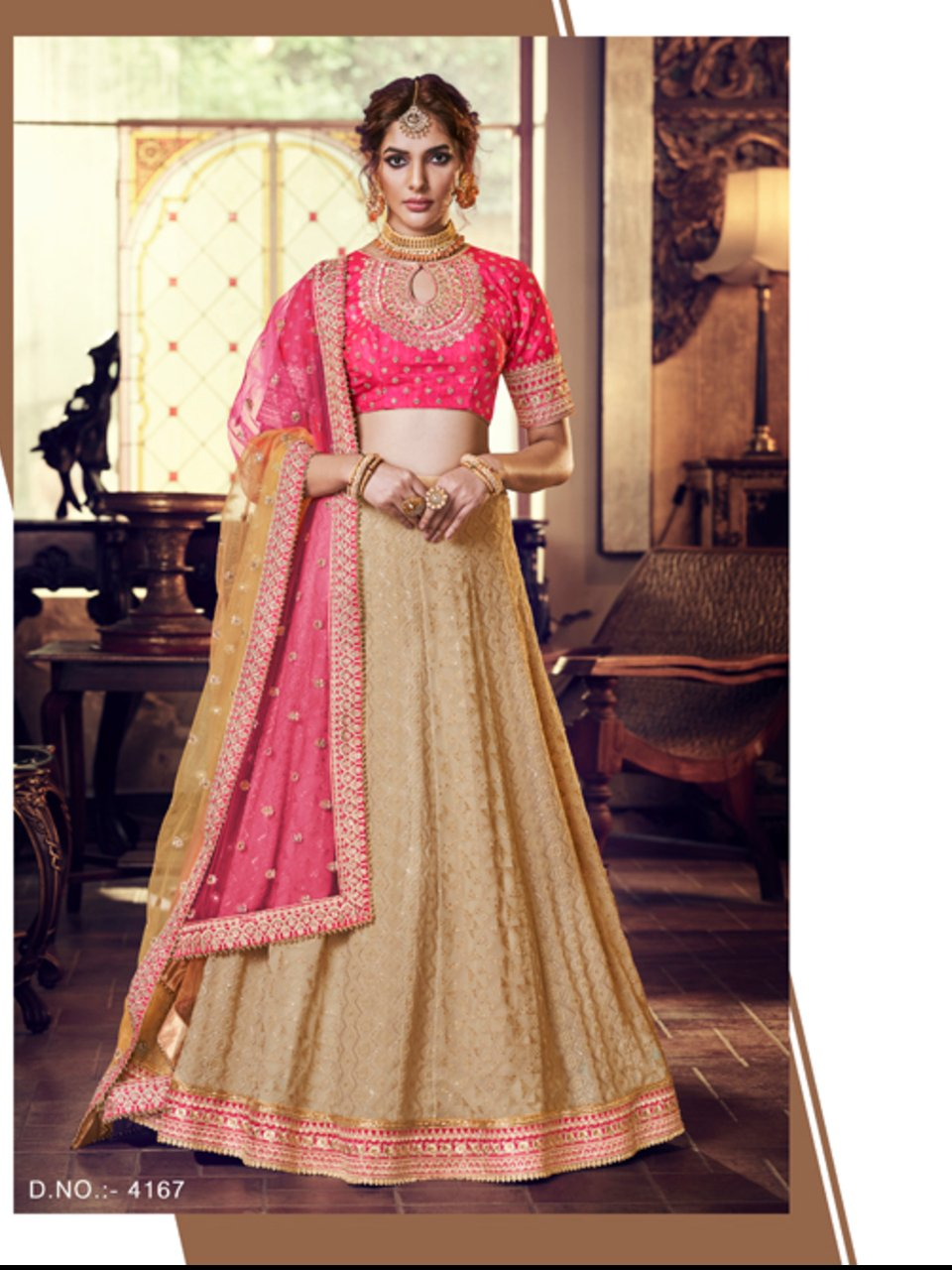 Lovely Nakkashi NAK4167 Bridal Beige Georgette Pink Silk Lehenga Choli - Fashion Nation