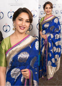 KH13280 Madhuri Dixit Bollywood Inspired Blue Silk Saree - Fashion Nation