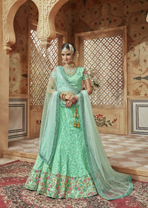 Bridal MN4601 Designer Aqua Multicoloured Silk Net Lehenga Choli by Fashion Nation