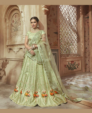 Unique MN4602 Bridal Green Multicoloured Silk Satin Lehenga Choli by Fashion Nation
