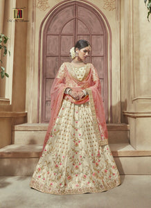 Lovely MN4603 Bridal Off-White Multicoloured Silk Lehenga Choli by Fashion Nation