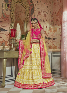 Bright MN4604 Partywear Pink Yellow Multicoloured Net Silk Lehenga Choli by Fashion Nation