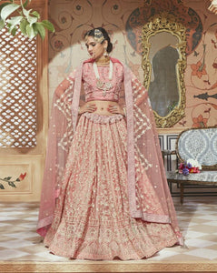 Designer MN4605 Elegant Pink Multicoloured Net Silk Lehenga Choli by Fashion Nation