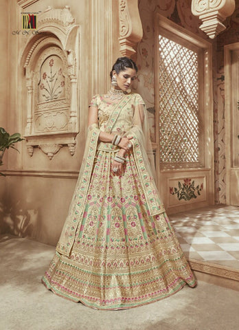 Ethnic MN4606 Regal Cream Multicoloured Satin Silk Lehenga Choli