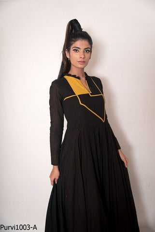 Unique PU1003 Indo Western Readymade Black Yellow Rayon Long Dress - Fashion Nation