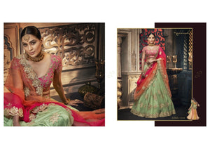 Festive Nakkashi NAK5155 Bridal Pista Green Net Rani Handloom Silk Lehenga Choli - Fashion Nation