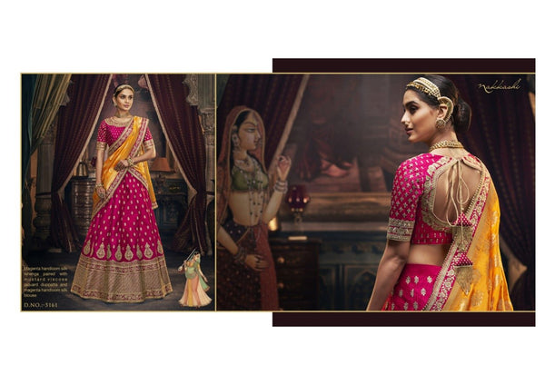 Authentic Nakkashi NAK5161 Bridal Mustard Jacquard Magenta Handloom Silk Lehenga Choli - Fashion Nation