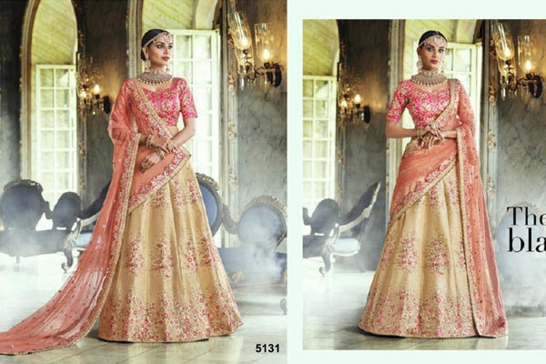 Ravishing Nakkashi NAK5131 Bridal Yellow Pink Peach Handloom Silk Net Lehenga Choli
