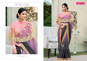 Stylish MIN4201 Casual Wear Shaded Purple Chiffon Georgette Pink Silk Saree with Cape - Fashion Nation