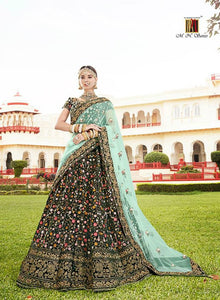 Gorgeous MN4804 Bridal Green Aqua Multicoloured Velvet Net Lehenga Choli - Fashion Nation