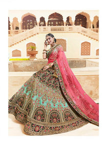 Glorious MN4809 Grand Sea Green Pink Multicoloured Silk Net Lehenga Choli - Fashion Nation