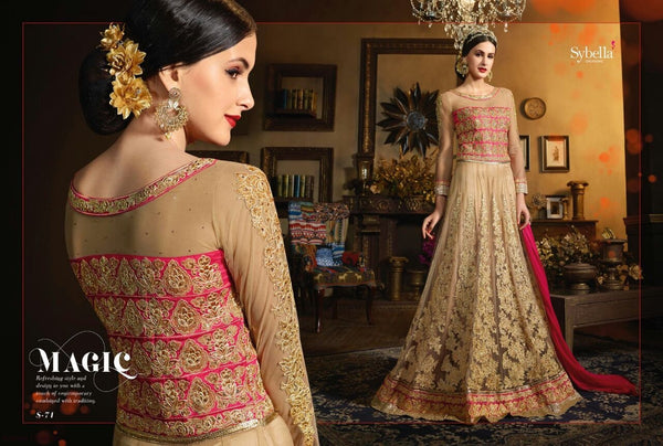 Classic SY71 Partywear Beige Pink Net Silk Anarkali Gown with Cape - Fashion Nation