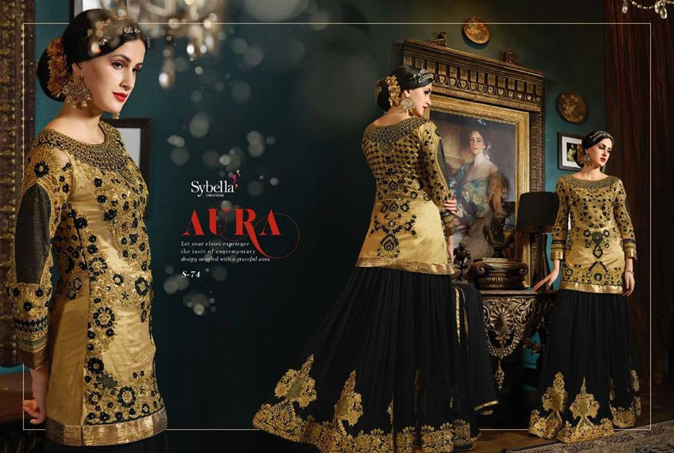Designer SY74 Partywear Black Beige Net Georgette Silk Anarkali Gown - Fashion Nation