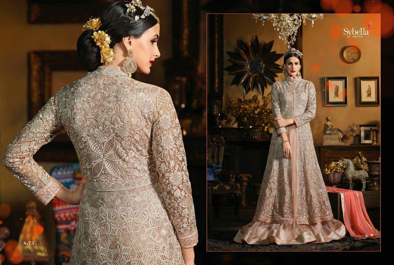 Gorgeous SY75 Partywear Grey Peach Net Silk Anarkali Gown - Fashion Nation