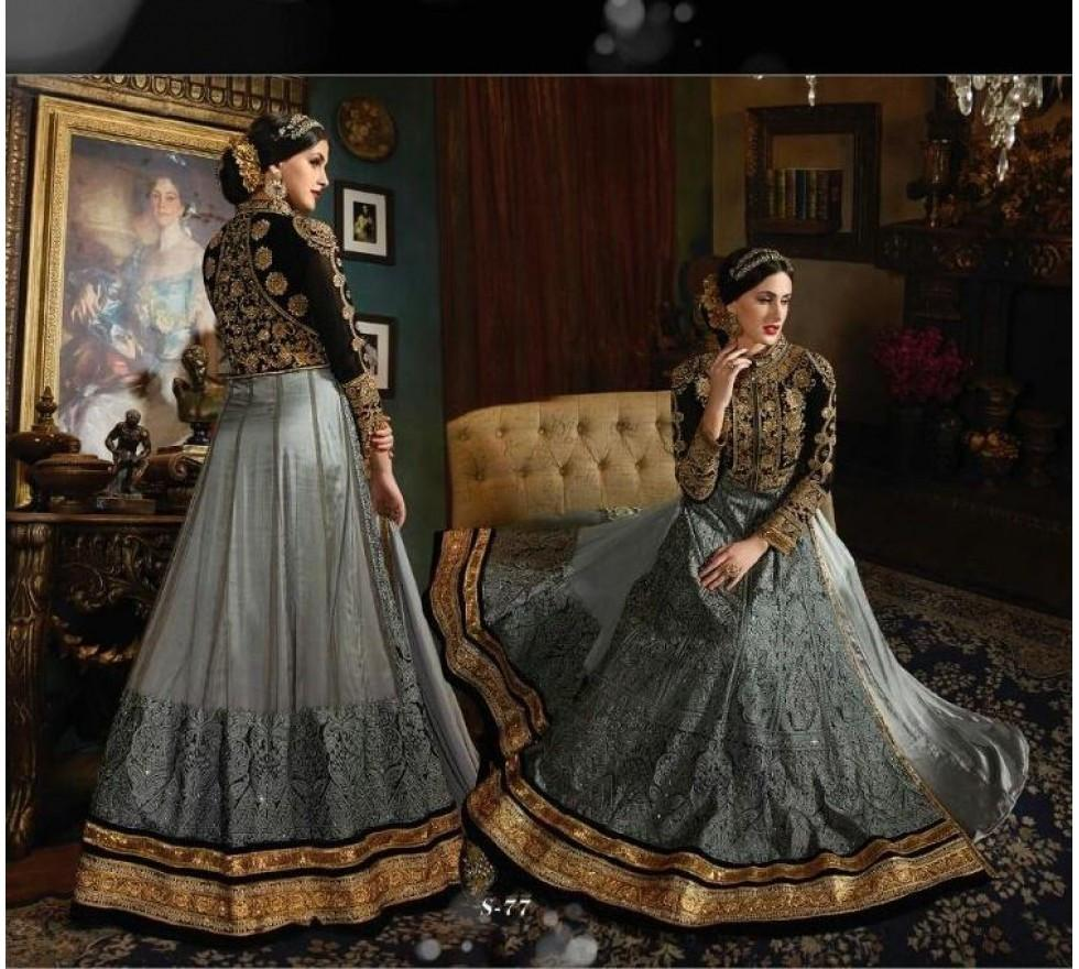 Attractive SY77 Partywear Grey Black Velvet Net Silk Anarkali Gown - Fashion Nation