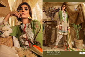 Indo Western SANA5113 Green Lawn Cotton Pakistani Suit - Fashion Nation