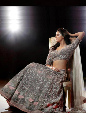 Designer SF5192 Bollywood Inspired Grey Silk Net Lehenga Choli by Fashion Nation