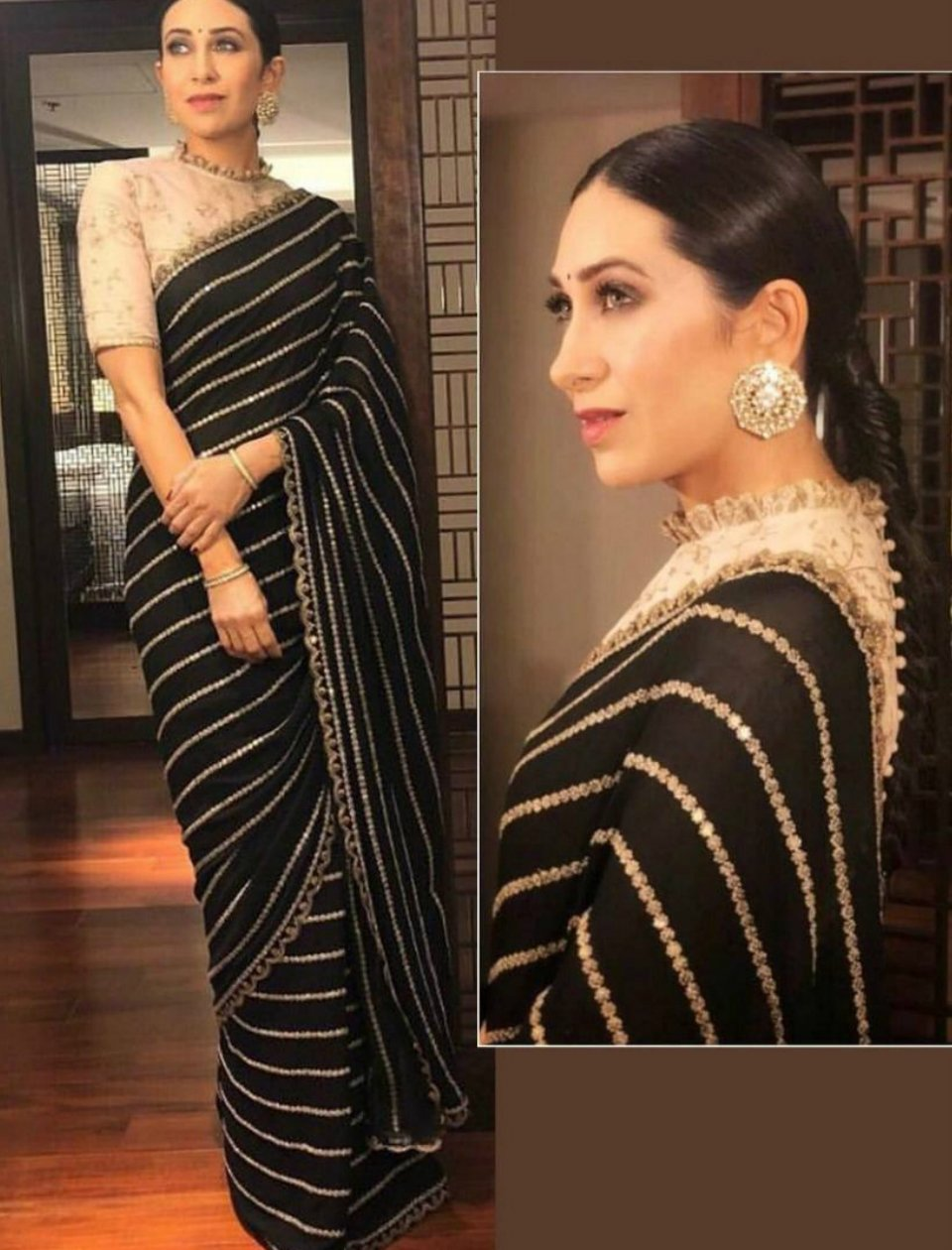 Karishma Kapoor SF5535 Bollywood Inspired Black Beige Georgette Silk Saree - Fashion Nation