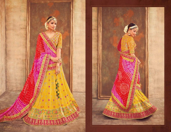 Colourful KIM5004 Spectacular Multicoloured Yellow Jacquard Silk Lehenga Choli