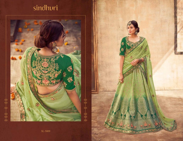 Exquisite KIM5009 Dressy Kimora Shaded Green Jacquard Silk Lehenga Choli