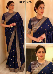 Sridevi KFP574 Bollywood Inspired Navy Blue Georgette Silk Saree by Fashion Nation
