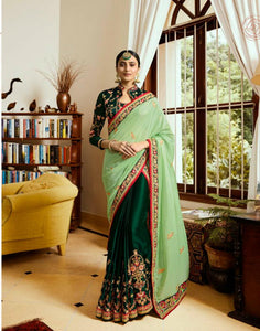 Vibrant ARD4111 Bridal Green Multicoloured Crepe Silk Saree - Fashion Nation.in